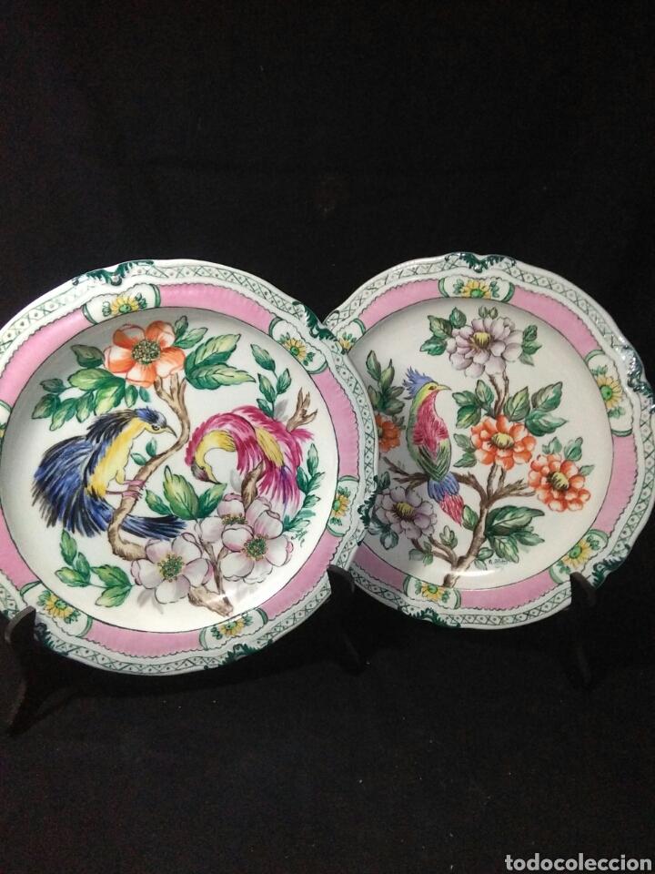 Antigüedades: Precioso platos principios de siglo XX ,ceramica pintado a mano ,esmaltes de colores - Foto 14 - 263265270