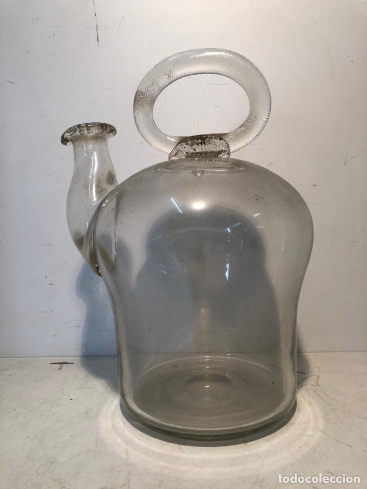 CANTARO O BOTIJO DE ACEITE DE VIDRIO SOPLADO CATALAN ISABELINO ANTIGUO. (Antigüedades - Cristal y Vidrio - Catalán)