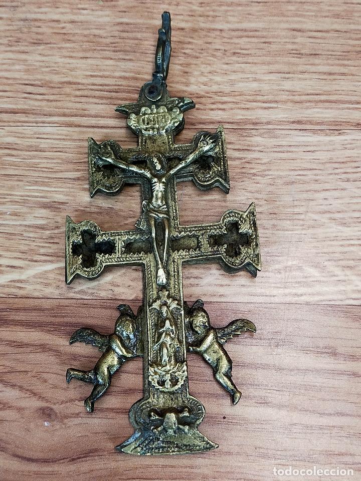 ANTIGUA CRUZ DE CARAVACA DOBLE EN BRONCE (Antigüedades - Religiosas - Cruces Antiguas)