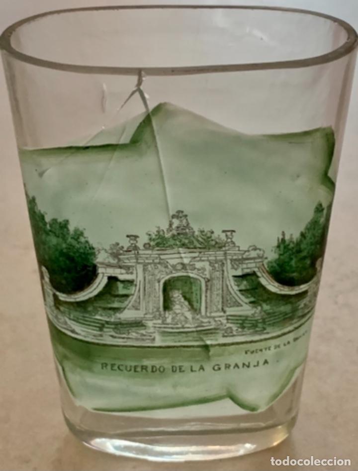 VASO DE FALTRIQUERA - PETACA EN CRISTAL DE LA GRANJA - FUENTE DE LOS BAÑOS DE DIANA - SIGLO XIX (Antigüedades - Cristal y Vidrio - La Granja)