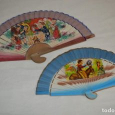 Antigüedades: 2 ABANICOS - AÑOS 60 - DECORADOS CON BONITAS IMÁGENES / DETALLES INFANTILES - ¡MIRA FOTOGRAFÍAS!. Lote 248081635
