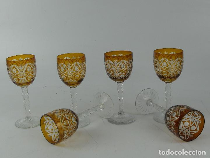 JUEGO DE 6 VASOS COPAS DE CRISTAL TALLADO DE BOHEMIA (Antigüedades - Cristal y Vidrio - Bohemia)