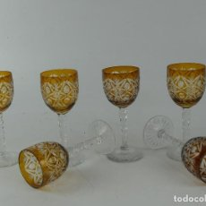 Antiquités: JUEGO DE 6 VASOS COPAS DE CRISTAL TALLADO DE BOHEMIA. Lote 263552850