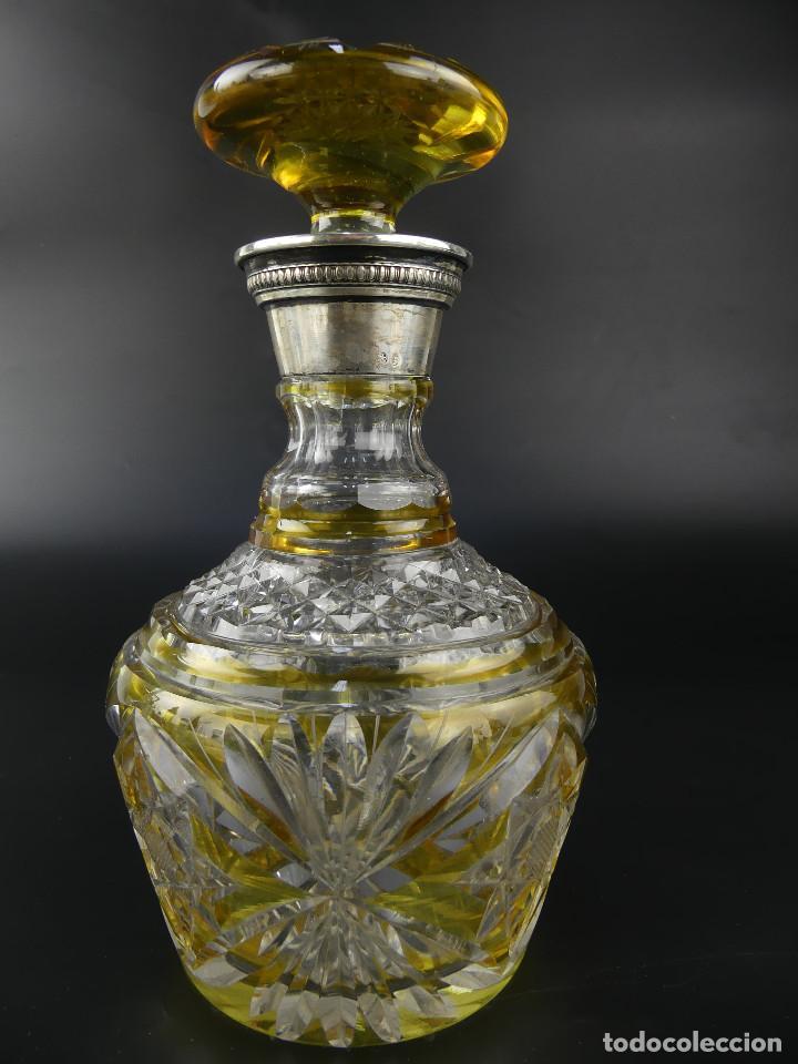 VINTAGE LICORERA DE CRISTAL DE BOHEMIA DECORADA CON PLATA MAGNIFICA PIEZA (Antigüedades - Cristal y Vidrio - Bohemia)