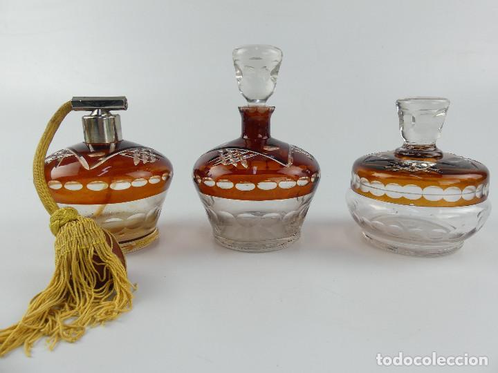 EXCELENTE JUEGO DE TOCADOR CRISTAL DE BOHEMIA (Antigüedades - Cristal y Vidrio - Bohemia)