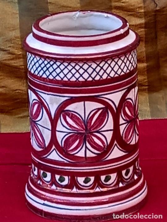 ALBARELO O TARRO DE FARMACIA EN CERAMICA DE REFLEJOS. MANISES ( VALENCIA ) (Antigüedades - Porcelanas y Cerámicas - Manises)