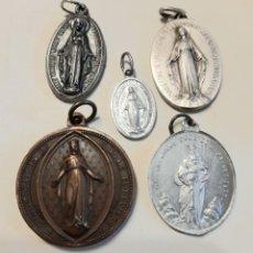 Antigüedades: 5 MEDALLAS RELIGIOSAS VIRGEN. VER FOTOGRAFÍAS DE DETALLE. BONITAS!. Lote 263660345
