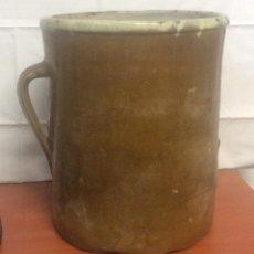 Antigüedades: ANTIGUA MANTEQUERA EN CERÁMICA DE ESTELLA ,SIGLO XIX-ALTURA 30 CM. Lote 263710650