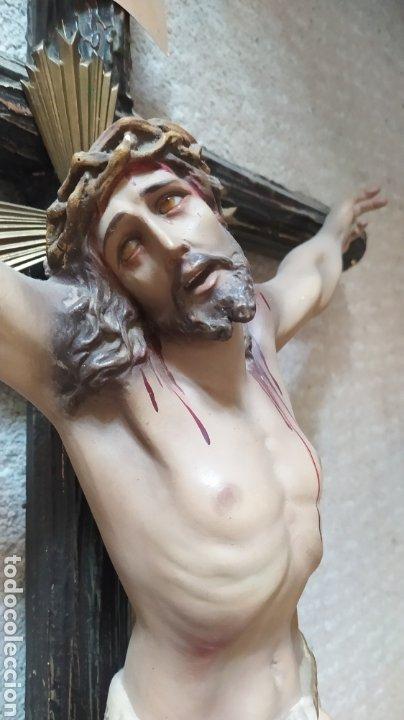 Antigüedades: IMPRESIONANTE CRISTO CRUCIFICADO SIGLO XIX TIPO OLOT - Foto 2 - 263789810