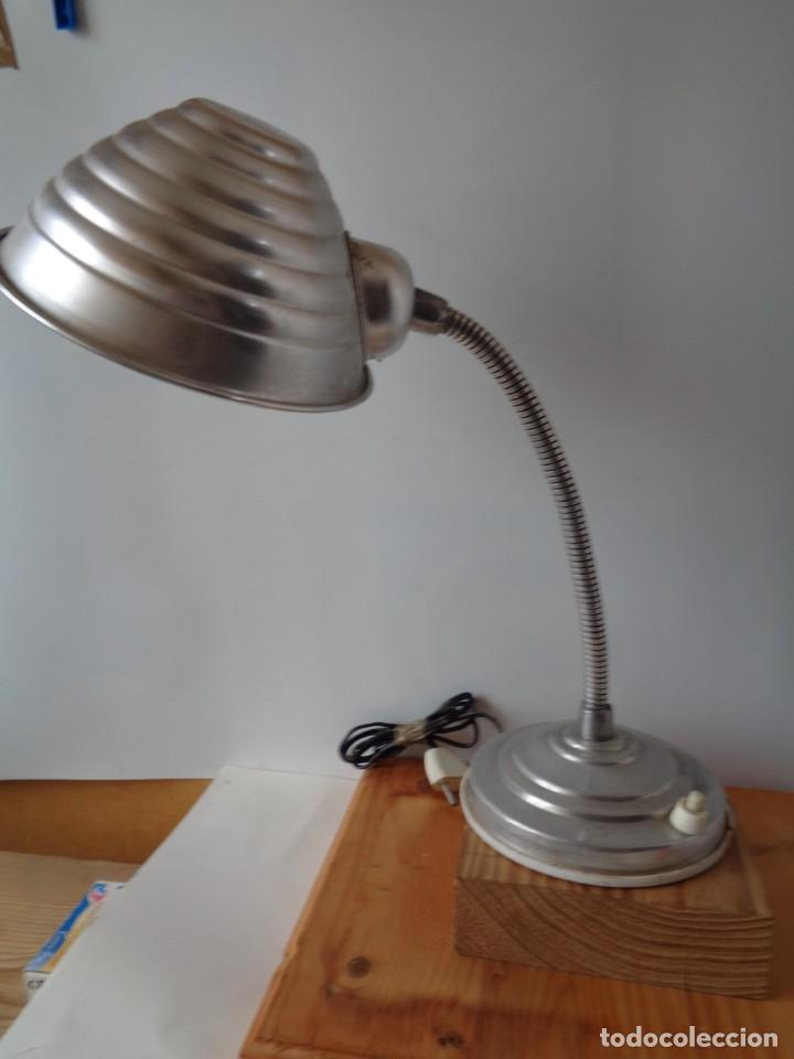 Antigüedades: ¡¡ LAMPARA: SOBREMESA, FLEXO ARTICULADA, ALUMINIO, VINTAGE. CIRCA 1950 -60. !! - Foto 5 - 263912165
