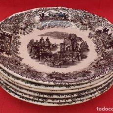 Antigüedades: 6 PLATOS PLANOS LA CARTUJA DE SEVILLA PICKMAN. Lote 263935475