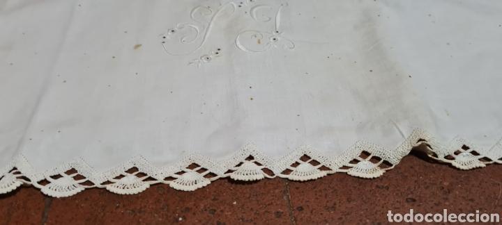 PRECIOSA ANTIGUA SABANA Y FUNDA ALMOHADA. (Antigüedades - Hogar y Decoración - Sábanas Antiguas)