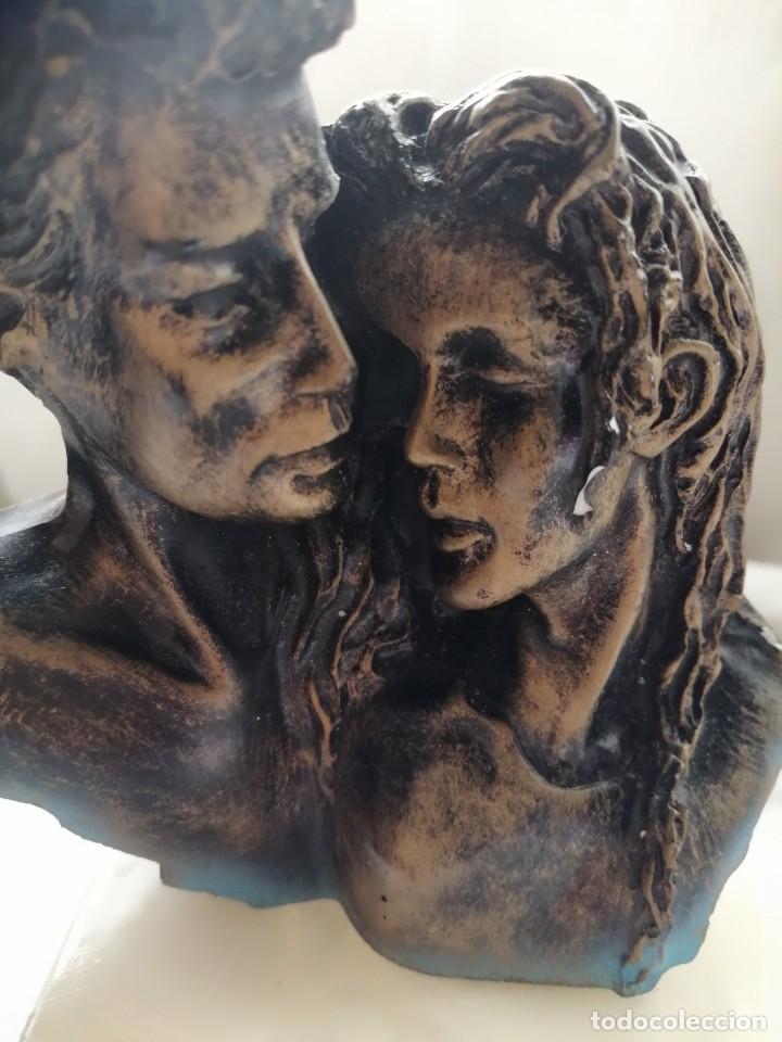 Antigüedades: Figura pareja con pie de mármol - Foto 2 - 264045020