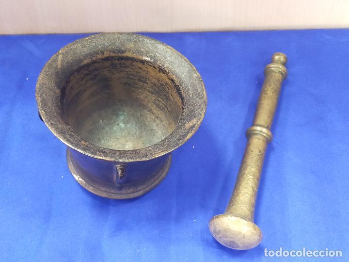 PRECIOSO ALMIREZ MORTERO ANTIGUO (Antigüedades - Técnicas - Rústicas - Utensilios del Hogar)