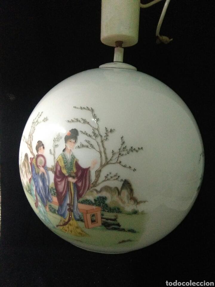 Antigüedades: Antigua lampara de cristal opalina ,de carácter oriental , globular - Foto 4 - 264167232