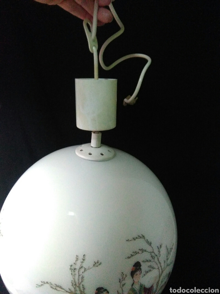 Antigüedades: Antigua lampara de cristal opalina ,de carácter oriental , globular - Foto 7 - 264167232
