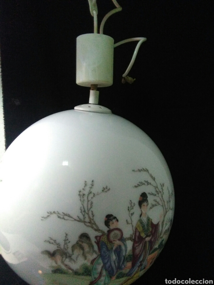 Antigüedades: Antigua lampara de cristal opalina ,de carácter oriental , globular - Foto 8 - 264167232