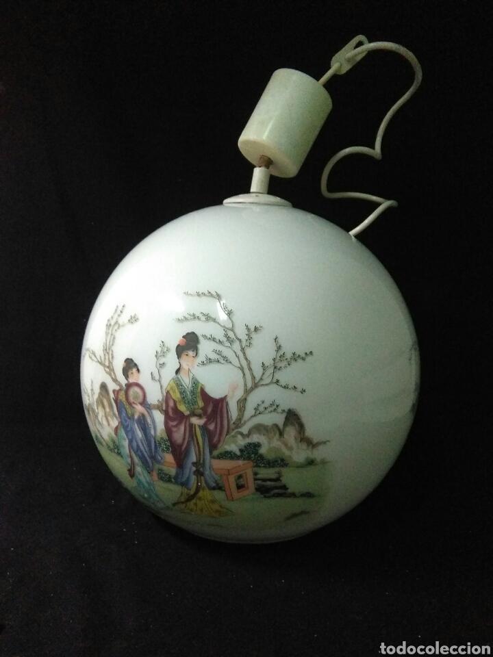 Antigüedades: Antigua lampara de cristal opalina ,de carácter oriental , globular - Foto 9 - 264167232