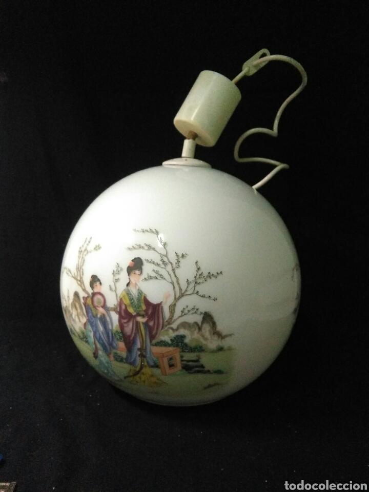Antigüedades: Antigua lampara de cristal opalina ,de carácter oriental , globular - Foto 10 - 264167232