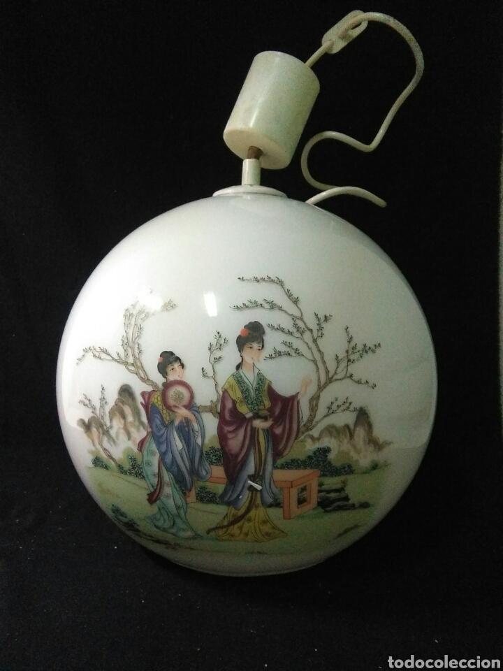 Antigüedades: Antigua lampara de cristal opalina ,de carácter oriental , globular - Foto 13 - 264167232