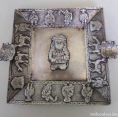Antigüedades: PRECIOSO CENICERO DECORADO CON ESCENAS INCAS PERÚ PLATA DE LEY CONTRASTADA. Lote 264171676