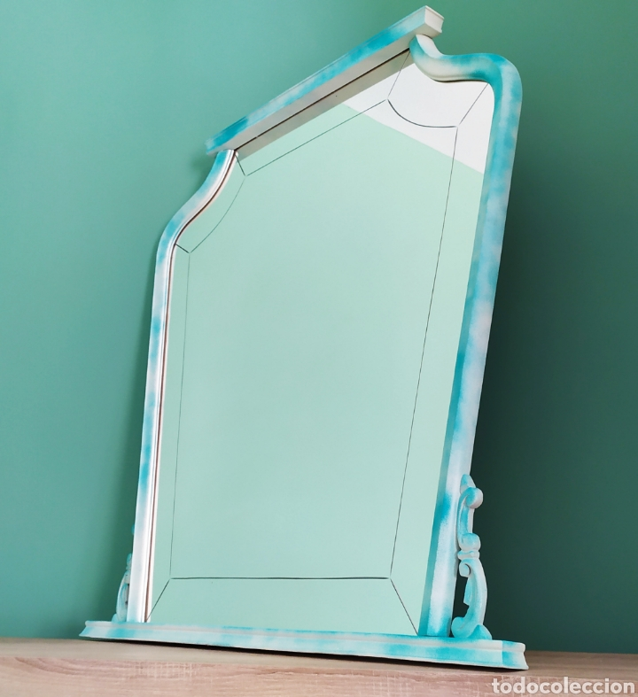 Antigüedades: Espejo Renovado de Antiguo Tocador. Años 70. De Blanco Antiguo y Turquesa. - Foto 11 - 264185908