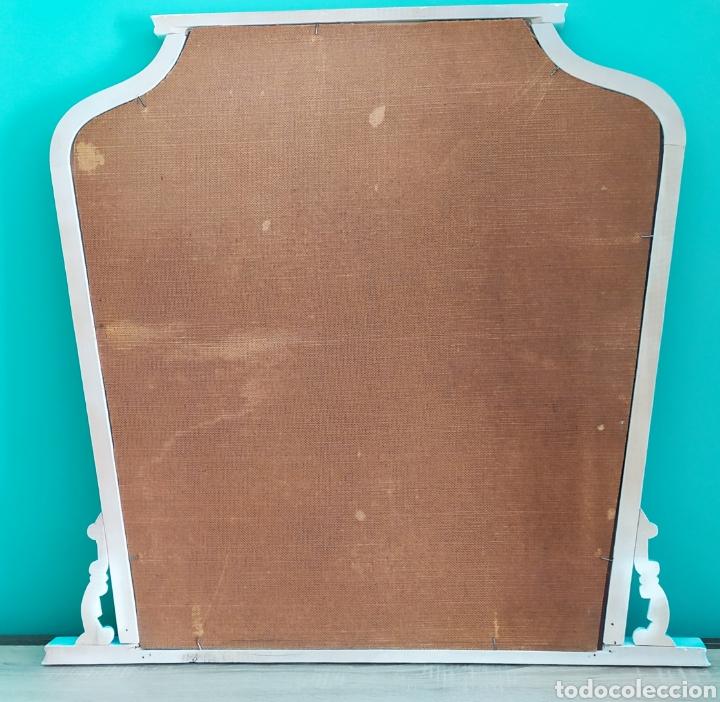 Antigüedades: Espejo Renovado de Antiguo Tocador. Años 70. De Blanco Antiguo y Turquesa. - Foto 28 - 264185908