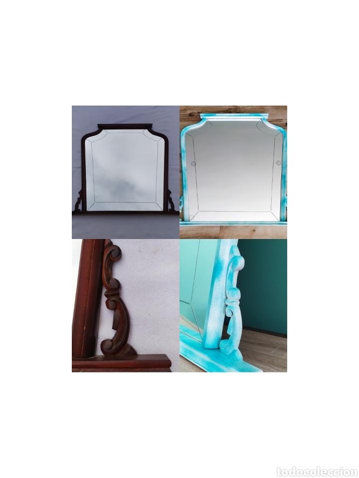 Antigüedades: Espejo Renovado de Antiguo Tocador. Años 70. De Blanco Antiguo y Turquesa. - Foto 3 - 264185908