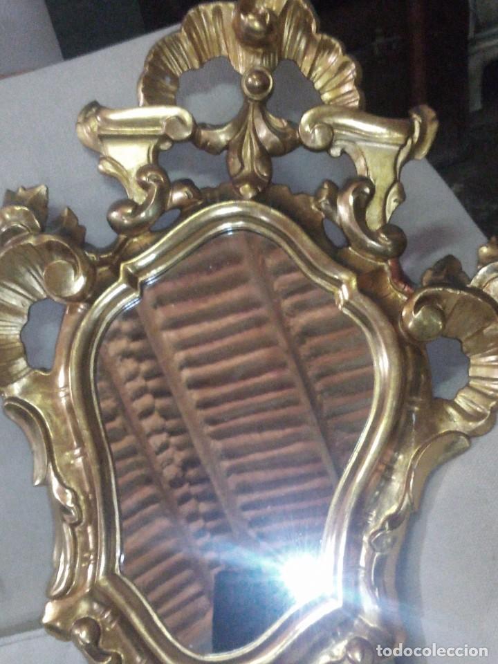 Antigüedades: ~~~~ ANTIGUO ESPEJO BARROCO DE MADERA TALLADA Y PAN DE ORO, MIDE 67 X.44 CM.~~~~ - Foto 2 - 264265280