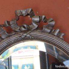 Antigüedades: ANTIGUO ESPEJO DE METAL PLATEADO.. Lote 264329420