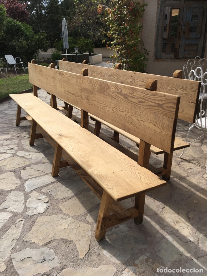 Antigüedades: Soberbio lote de 4 bancos de iglesia CIRCA 1850 de madera de pino - Restaurados - Foto 6 - 264427359