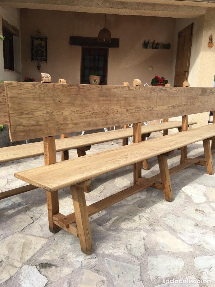 Antigüedades: Soberbio lote de 4 bancos de iglesia CIRCA 1850 de madera de pino - Restaurados - Foto 7 - 264427359