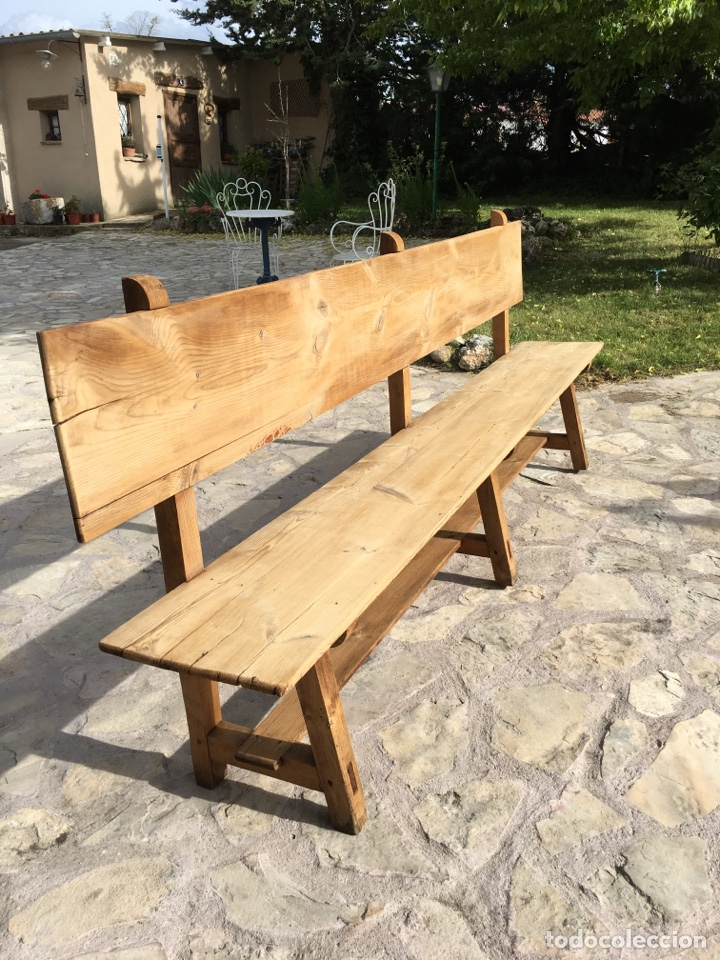 Antigüedades: Soberbio lote de 4 bancos de iglesia CIRCA 1850 de madera de pino - Restaurados - Foto 8 - 264427359