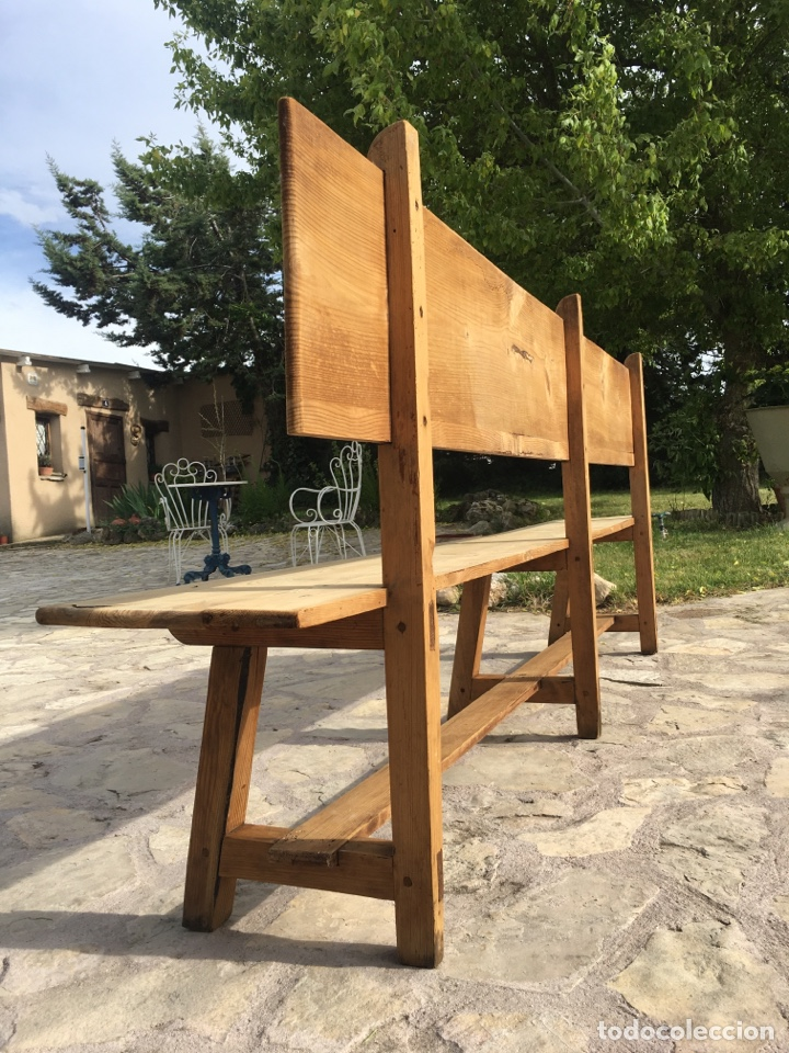 Antigüedades: Soberbio lote de 4 bancos de iglesia CIRCA 1850 de madera de pino - Restaurados - Foto 11 - 264427359