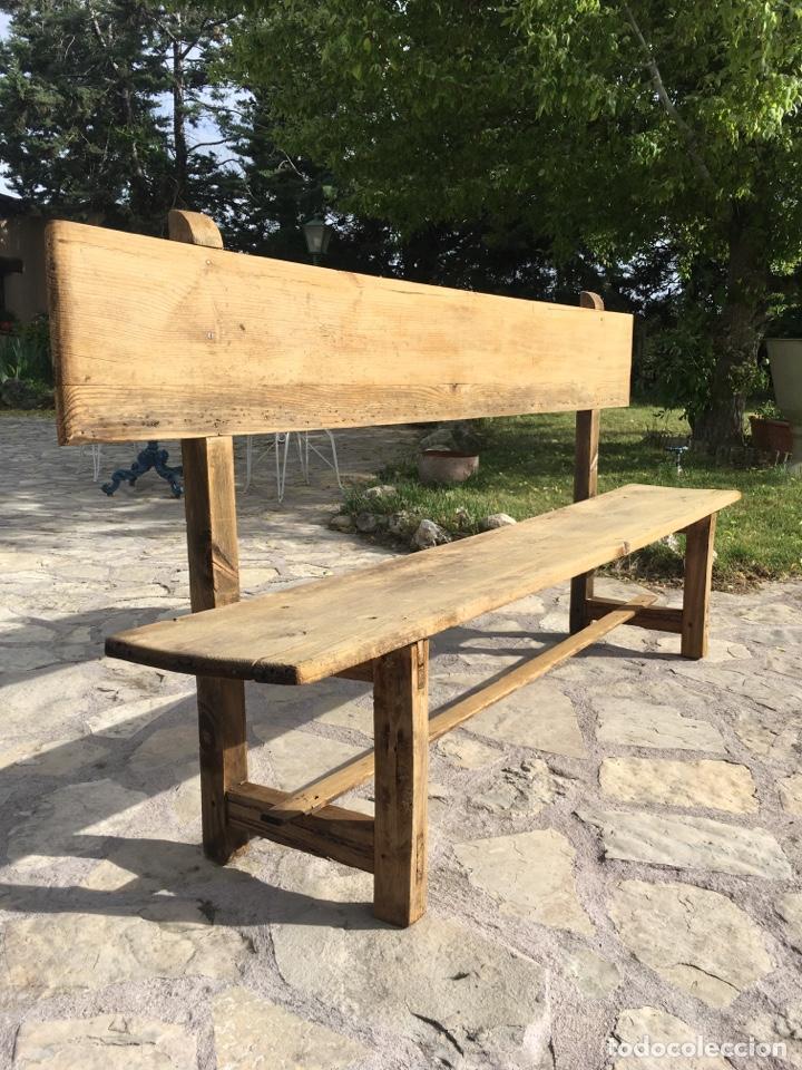 Antigüedades: Soberbio lote de 4 bancos de iglesia CIRCA 1850 de madera de pino - Restaurados - Foto 12 - 264427359