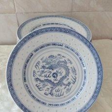 Antigüedades: LOTE DE 10 PLATOS DE PORCELANA, IMAGEN DRAGÓN CON TRANSPARENCIAS, MADE IN CHINA. AZUL Y BLANCO.. Lote 264756674