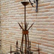 Antigüedades: LAMPARA ANTIGUA GRANDE EN LATON Y COBRE - PIEZA UNICA.. Lote 264792654