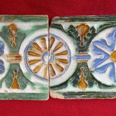 Antigüedades: LOTE DOS AZULEJOS ANTIGUOS DE TOLEDO - SIGLO XVI - ARISTA O CUENCA - RENACIMIENTO -. Lote 264794889