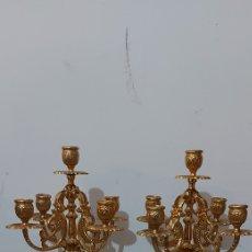 Antigüedades: LOTE 2 CANDELABROS DE BRONCE. Lote 264831689