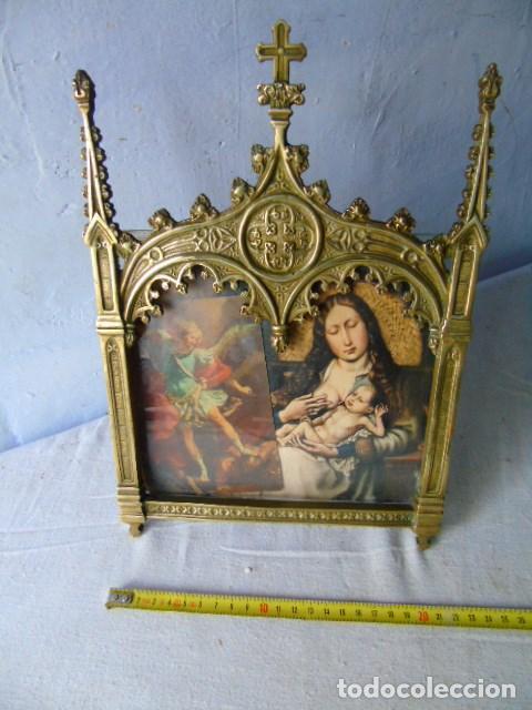 BONITO MARCO DE BRONCE RELIGIOSO (Antigüedades - Religiosas - Ornamentos Antiguos)