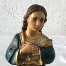 Antigüedades: VIRGEN MARÍA DE ESTUCO POLICROMADO.. Lote 265113684