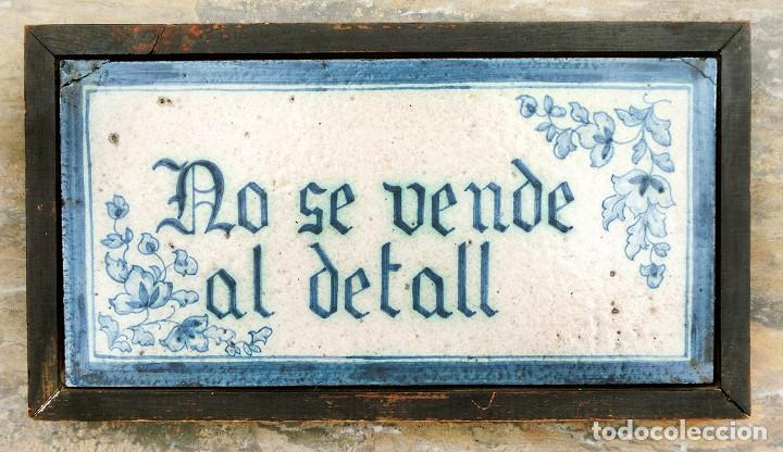 CURIOSO Y ORIGINAL AZULEJO - NO SE VENDE AL DETALL - CERÁMICA ENMARCADA - TIENDA - TALLER - RARO (Antigüedades - Porcelanas y Cerámicas - Azulejos)