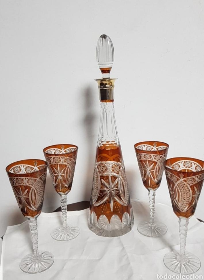 LICORERA MÁS COPAS DE CRISTAL TALLADO DE BOHEMIA (Antigüedades - Cristal y Vidrio - Bohemia)