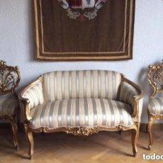 Antigüedades: LOUIS XVI,SOFÁ Y SILLAS EN MADERA DORADA DEL SIGLO XIX SOFÁ FRANCÉS LOUIS XVI. Lote 265182784