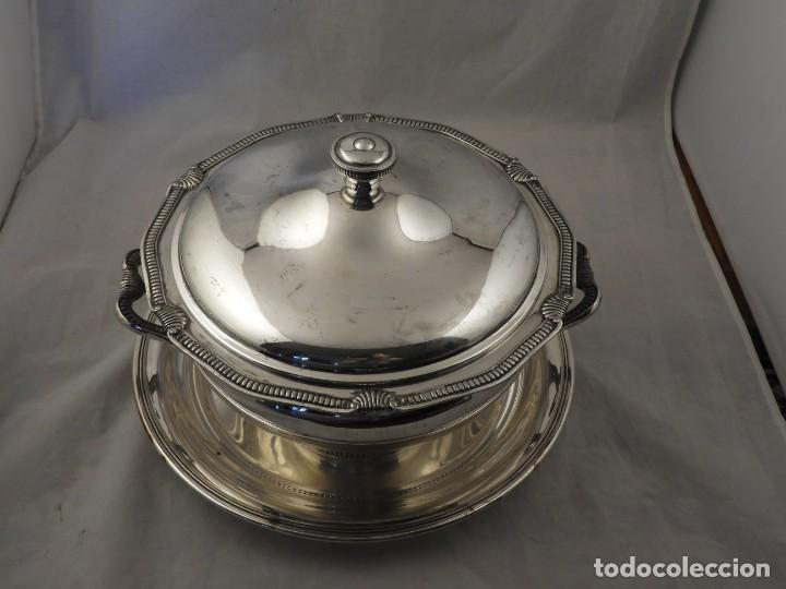 Antigüedades: SOPERA CON PLATO DE PLATA MACIZA PUNZON ESTRELLA - Foto 13 - 265185739