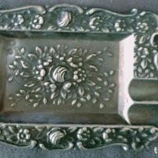 Antigüedades: CENICERO DE PLATA MOTIVOS FLOREALES. Lote 289462513