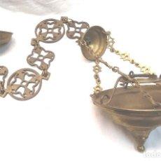 Antigüedades: LAMPARA VOTIVA BRONCE S XIX. MED. 82 CM. Lote 265332554