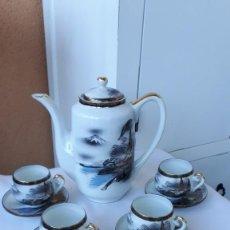 Antigüedades: ANTIGUO JUEGO DE CAFE PORCELANA CHINA PINTADO A MANO. Lote 265383679