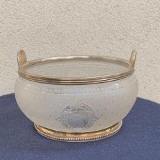 Antigüedades: CUENCO LAVAMANOS FRUTA VIDRIO ESMERILADO GRABADO PLATA FRANCIA S XIX 7,5X13CMS. Lote 265432264