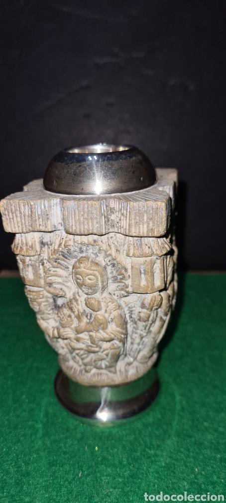 Antigüedades: Precioso candelabro, portavela. Con plata. - Foto 4 - 265438314
